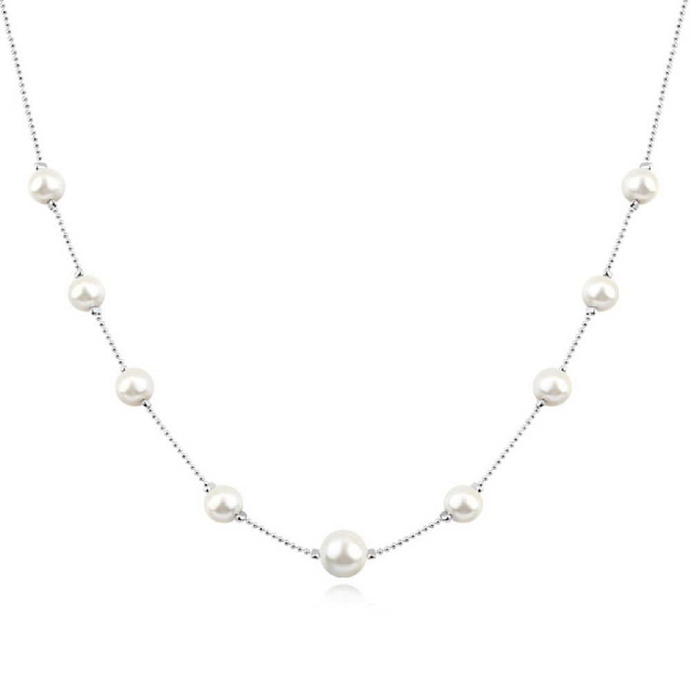 Strand Necklace with Swarovski Crystal Simulated White Pearls 18 ct White Gold Plated for Women 18''