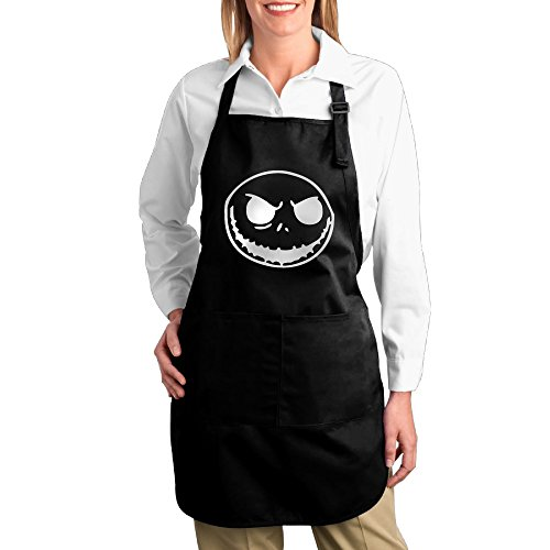[Adjustable Jack Skellington Face Kitchen Bib Aprons BBQ Black] (Boogie Man Nightmare Before Christmas Costumes)
