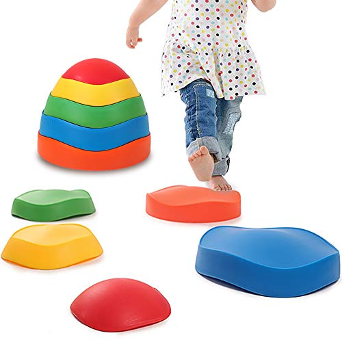 Halloween Stepping Stones (leofit Wavy River Stepping Stones 5-Pieces Early Kids Education Balance&Coordination Training for Indoor, Outdoor, Grass, Home,)