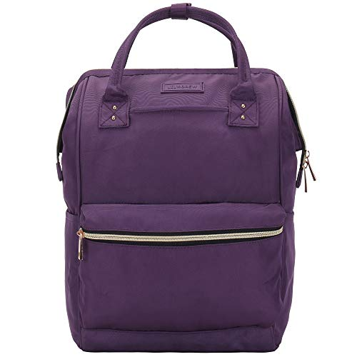 - Lily & Drew Casual Travel Daypack School Backpack for Men Women and 14 Inch Laptop Computer, with Wide Doctor Style Top Opening (V4 Purple Medium)
