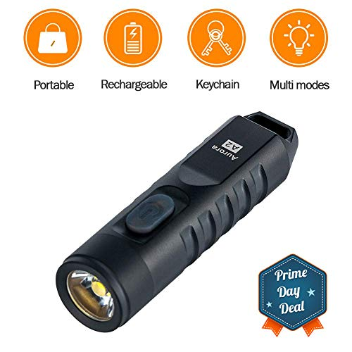 RovyVon Aurora 550 Lumens CREE XP-G3 S5 LED Keychain Rechargeable EDC Flashlight,Stainless Steel Material,45 Minutes Fast Charging,Waterproof IP-65 Small Torch,A2(Black)