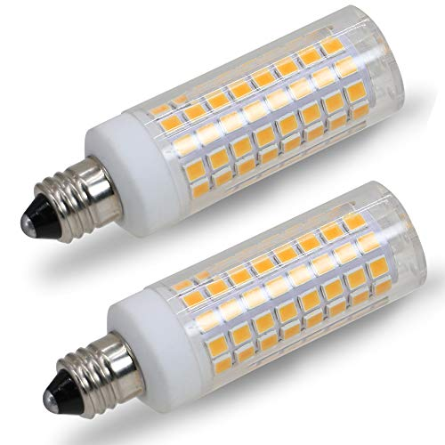 [2-Pack] E11 led Bulb, 75W or 100W Equivalent Halogen Replacement Lights, Dimmable, Mini Candelabra Base, 850 Lumens Warm White 3000K, AC110V/ 120V/ 130V, Replaces T4 /T3 JD Type Clear e11 Light Bulb (T4 Type)