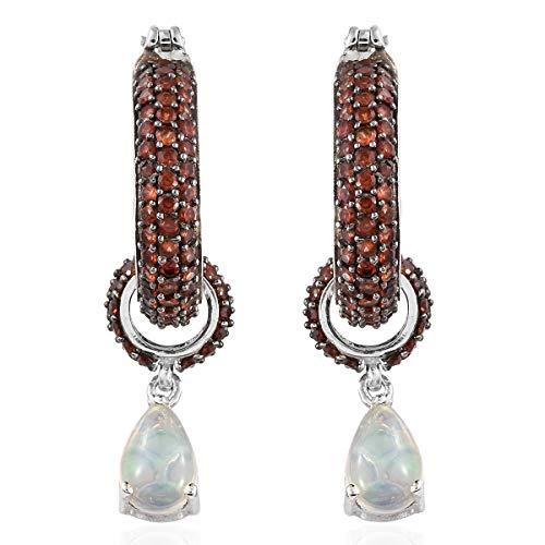 925 Sterling Silver Platinum Plated Pear Opal Garnet Dangle Drop Hoops, Hoop Earrings for Women