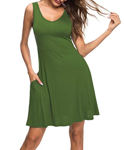b7969a0d83 MISFAY Women's Summer Casual T Shirt Dresses Beach Cover up Plain Tank Dress  with Pockets