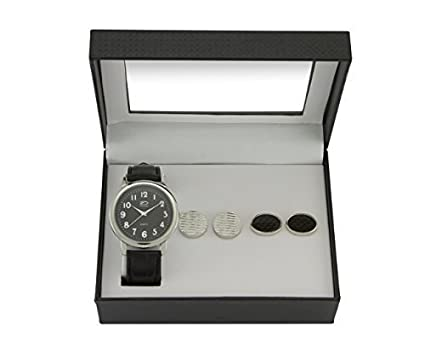 a50169331400 Time Design Men Gents Quartz Analogue Watch Black Silver Cufflinks Set Gift   Amazon.co.uk  Watches