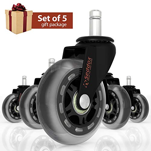 Professional Office Chair Caster Wheels Gift Set of 5 - Protect All Your Floors - 3'' Heavy Duty Replacement Rollerblade Rubber Desk Chair Casters - Best Protection for Your Hardwood Floors ()
