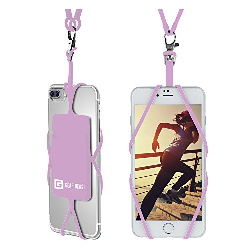 Lanyard Holder Neck - Gear Beast Universal Cell Phone Lanyard Compatible with iPhone, Galaxy & Most Smartphones Includes Phone Case Holder with Card Pocket, Silicone Neck Strap