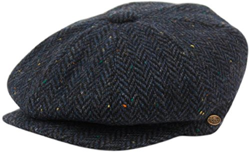 (Men's Classic 8 Panel Wool Blend Newsboy Snap Brim Collection Hat (X-Large, 2746-Navy))