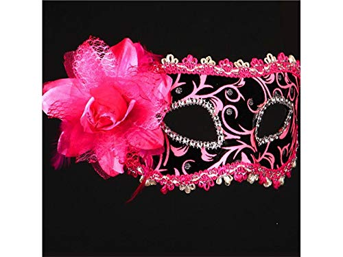 Prop Artificial Feather Mask Painted Half Face Masquerade Mask for Venetian Halloween Party (Pink) Party -