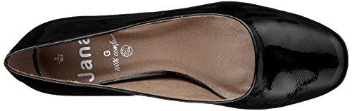 para Zapatos Negro Jana Black Mujer de Patent Tacón 22302 OzIxn1q6