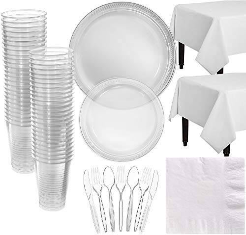Amscan Clear Plastic Tableware Kit for 50 Guests, Party Supplies, Includes Table Covers, Plates, Cups and More