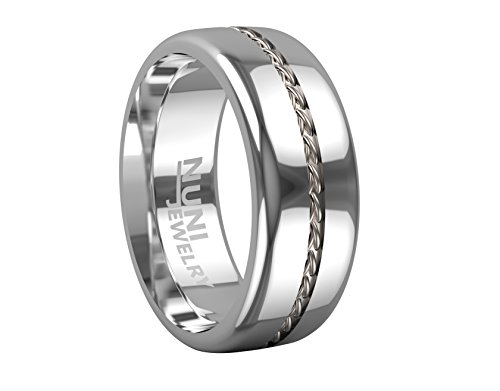Nuni Jewelry 8mm Tungsten Ring Silver Cable Inlay Design Wedding Bands (10)