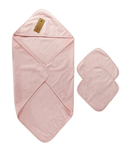 Arus Baby Organic Turkish Cotton Terry Hooded Nursery Towel Wrap Set, Pink, (Organic Hooded Towel Set)