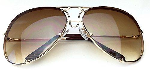 80's Vintage Retro Aviator Design Metal Wire Frame Large Lenses Sunglasses (Gold, - Glasses Frame Vintage Wire Gold