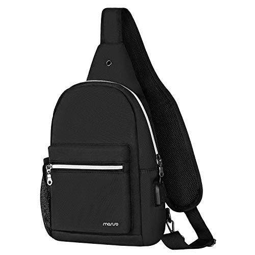 MOSISO Rope Sling Backpack with USB Charging Port, Polyester Chest Shoulder Crossbody Unbalance Gym Fanny Sack Satchel Travel Bag Outdoor Hiking Daypack for Men/Women, Black