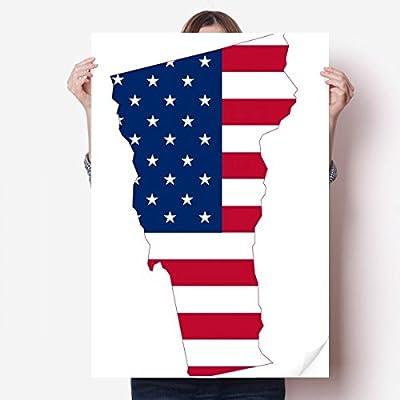 DIYthinker Vermont USA Map Stars Stripes Flag Shape Vinyl Wall Sticker Poster Mural Wallpaper Room Decal 80X55cm