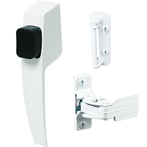 Nite Pin Lock (Prime-Line K 5145 Screen and Storm Door Push Button Latch Set With Night Lock - Replace Old or Damaged Screen or Storm Door Handles Quickly and Easily - White Finish (Fits Doors 5/8