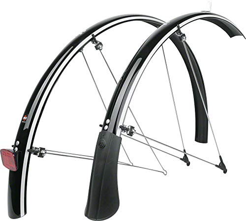 SKS-Germany Blue Mels Reflective Bicycle Fender Set with Reflective Piping, Black