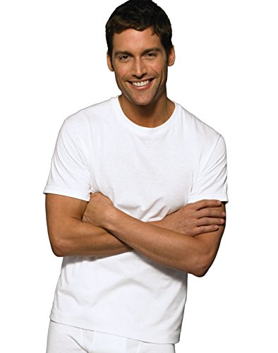 Hanes Ultimate Men's 6-Pack Crew Neck Tee, White, Medium