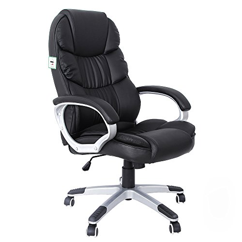 SONGMICS Office Executive Swivel Chair with 76 cm High Back Large Seat and Tilt Function Computer Chair PU Black OBG24BUK