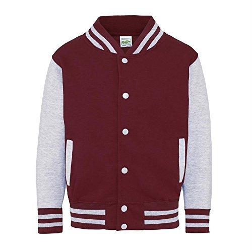Kid's Varsity Jacket COLOUR Burgundy/Heather Grey SIZE 12 TO