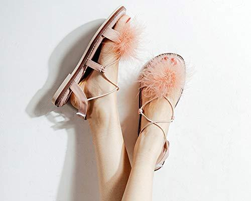 Coreana Abierta Fairy Sandalias Las De Nueva Pink Verano Hairy Punta Versión pE0wnU