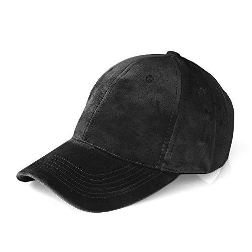 JOOWEN Unisex Soft Velvet Baseball Cap 6 Panels Solid Adjustable Sports Hat (Black)