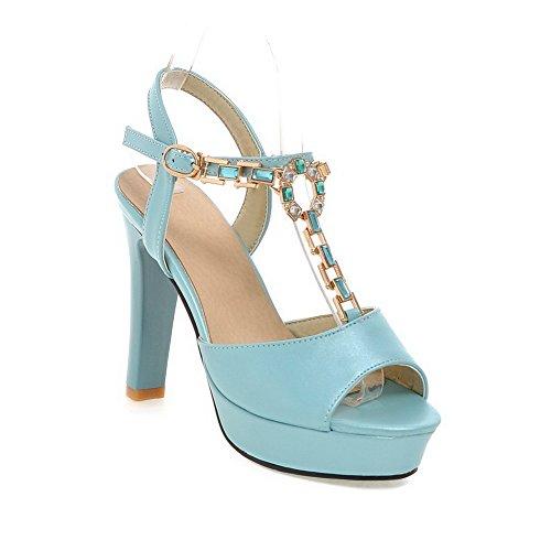 WeenFashion Women's Open Toe High Heels Solid Buckle Heeled-Sandals, Blue, - Shopping Nc Greensboro