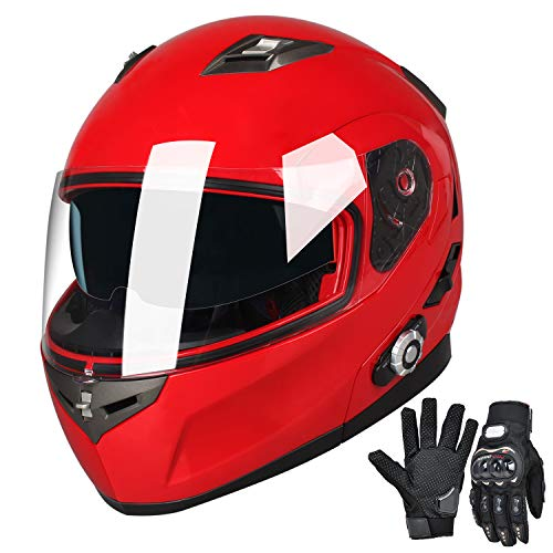 FreedConn Bluetooth Motorcycle Helmets Speakers Integrated Modular Flip up Dual Visors Full Face Built-in Bluetooth Mp3 Intercom headset Communication Range 500M(Red, Large)