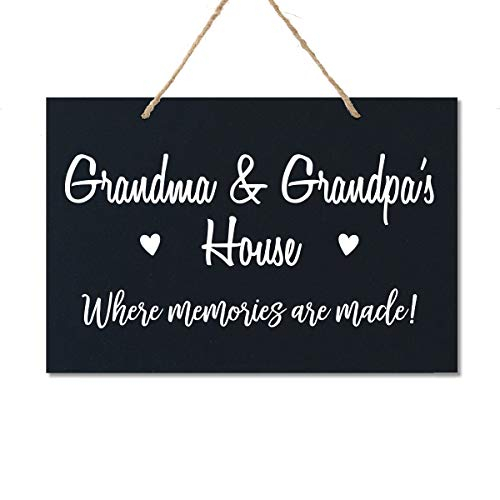 LifeSong Milestones Grandparent Family Name Wall Plaque Sign Grandmother Grandfather Gift Ideas for Home 8 x 12 (Grandma Grandpa Black)
