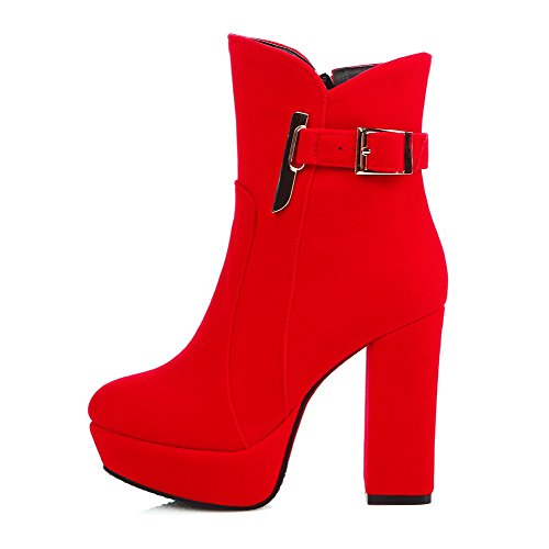 Women's Round Closed Toe Low Top High Heels Solid Frosted Boots Red 41