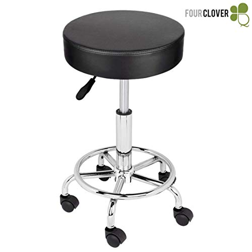 FOUR CLOVER Adjustable Beauty Rolling Swivel Salon Cushioned Medical Stool Chair Seat with PU Leather and foot rest Chrome Metal Base for Drafting Massage Facial Spa Tattoo (Black)