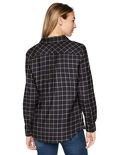 fit De Manga Negro Lightweight Amazon Flannel Camisa black Plaid Windowpane Long Mujer Para Shirt sleeve Larga Essentials Classic wIFvw
