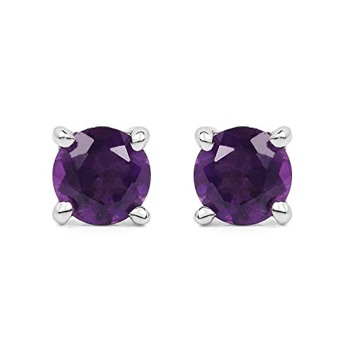 Johareez Amethyst 925 Sterling Silver Stud Earrings