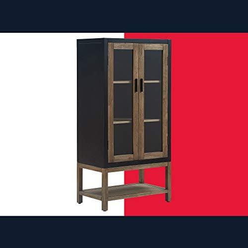 Tommy Hilfiger Elmhurst Modern Storage Cabinet, 32 H, 2 Framed Glass Door, 3 Shelves Free Standing Accent Furniture, Black Gray