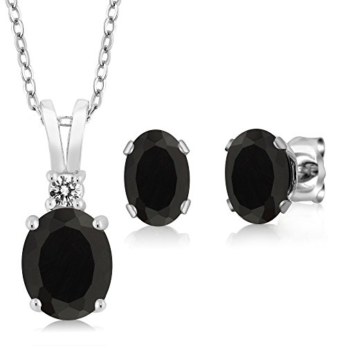2.52 Ct Oval Black Onyx 925 Sterling Silver Pendant Earrings Set (Pendant Silver Earrings Set)