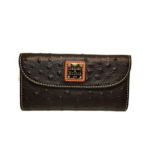 - Dooney & Bourke Ostrich Continental Clutch Wallet Black WO07B BL