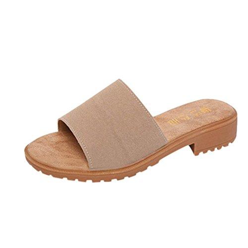 Ansenesna Sandalen Damen Sommer Keilabsatz Offen Elegant Flip Flop Slipper Stoff Strand Outdoor Sommerschuhe Khaki