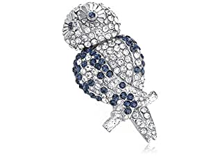 Alilang Clear Sapphire Blue Crystal Rhinestone Cute Hooting Happy Owl Perched Brooch Pin
