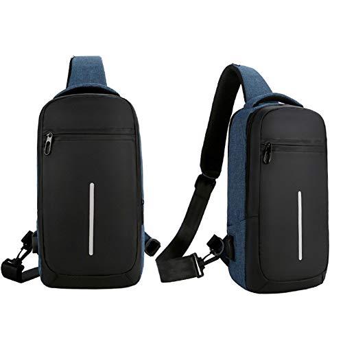 Función Bolsa USB Oxford Bolsa Libre Pequeña LULUKEKE Carga Hombro Black Bolsa Tela Sling Pecho Al Bolsa Unisex Diagonal Blue Multi Deportes Aire Bolsa XF77wtPqv