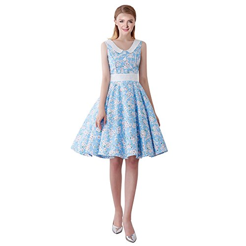 FiftiesChic Seam Line Sleeveless 100% Cotton Polka Dot Floral 50s Vintage Rockabilly Swing Dress (Large, Blue Cherry Blossoms)