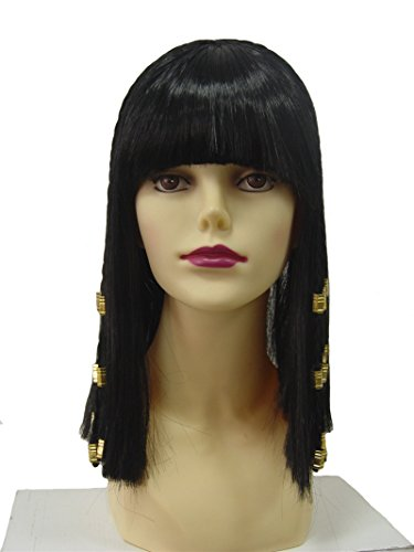 Ibeauti Historical Costume Party Wig Straight Cosplay Egypt Nile Braided Wig for Women (Black)