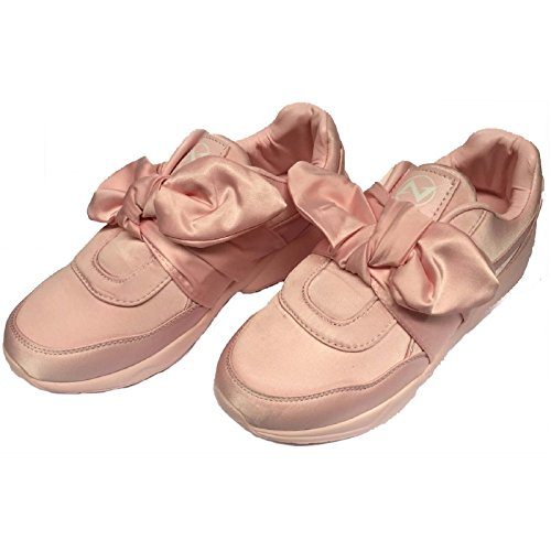 Shoes Satin Bow Army Green Women's Fashion Athletic Walking Pink Pink Sneakers Black 6q4wIgv
