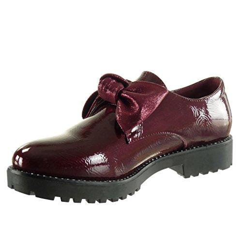3 femme bloc Talon verni Bordeaux noeud surpiqûres finition Mode coutures CM papillon Angkorly Chaussure Derbies RgqtZgw7