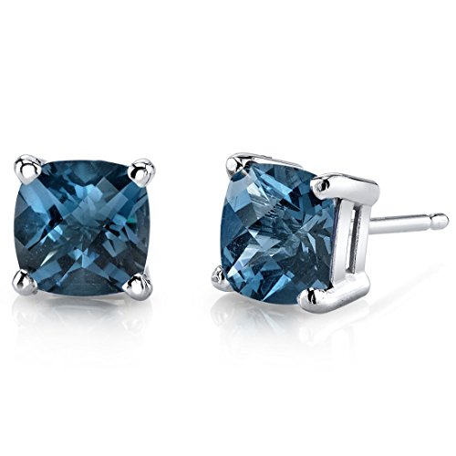14 Karat White Gold Cushion Cut 2.25 Carats London Blue Topaz Stud Earrings -
