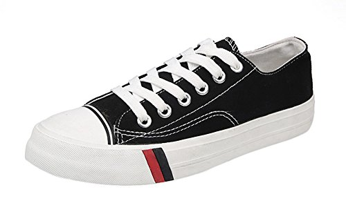 for Lace Shoes Low Shoes Amint Casual Unisex Trainers Black Men Sneaker Fashion and Ups Cut Women 04 Canvas Sports OHHqdvw