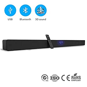 [NEW 2018] Wireless Sound Bar for TV with Bluetooth – 2.1 Soundbar with 3D Stereo 5.1 Surround Sound Effect – Best Home System - Wall-Mountable TV Speaker, Remote Control - For TV, PC (39.5 in)