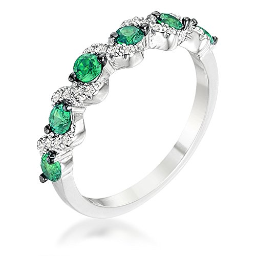 WildKlass .18Ct Rhodium Plated and Hematite Plated S Shape Emerald Green and Clear CZ Half Eternity Band Emerald Hematite Ring