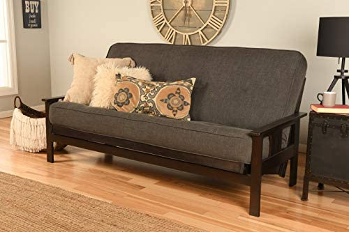 Kodiak Furniture Monterey Futon Set with Espresso Finish, Full, Linen Charcoal