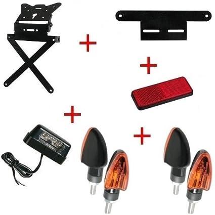 Kit para Moto matrícula + 4 Flechas + luz Placa + ...